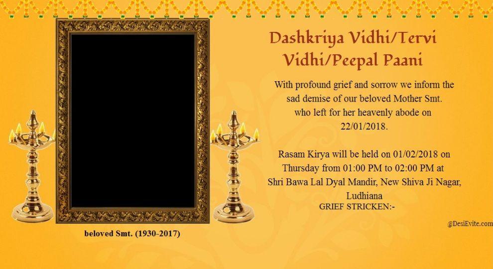 Dashkriya Tervi Varsh Shradh Invitation Card In 2020 Invitation Cards Invitations Create Invitations