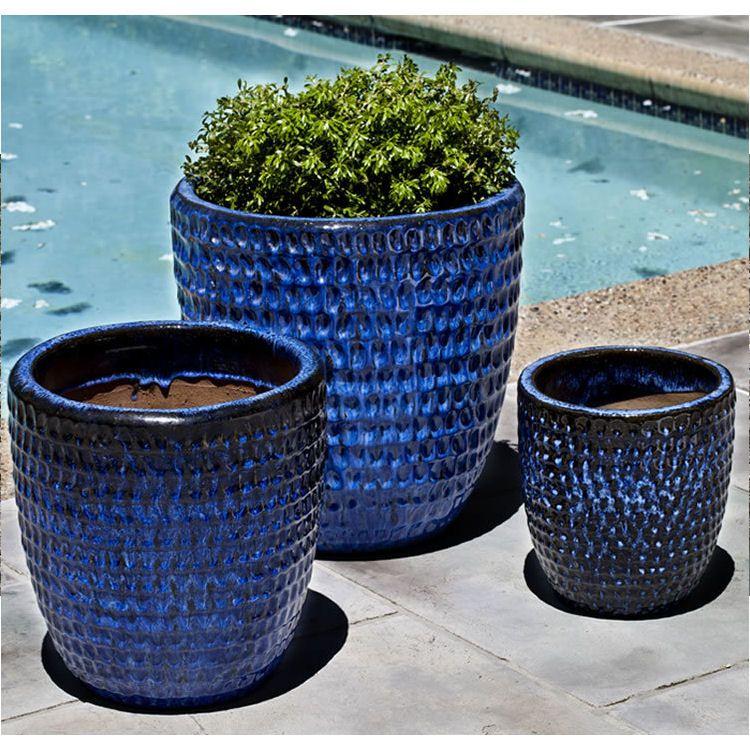 Kinsey Garden Decor Dimple Glaze Glazed Ceramic Planters Riviera Royal Blue Decorative Outdoor Flower Pots For Porch Patio Planters Planter Pots Garden Pots