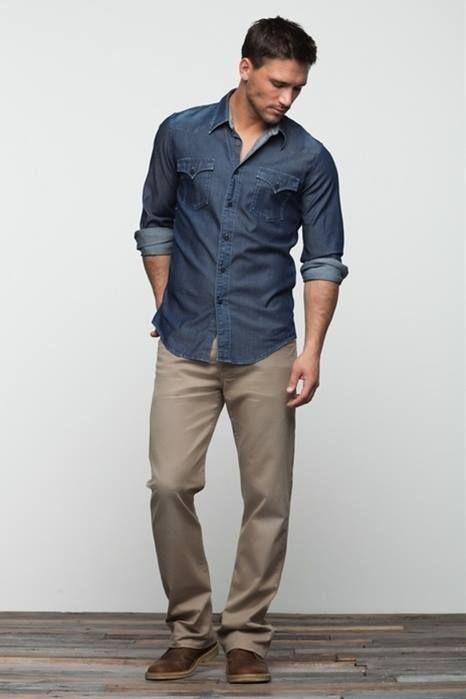 Denim Shirt And Khaki Pants Business Casual Men Casual Mens Fashion Casual