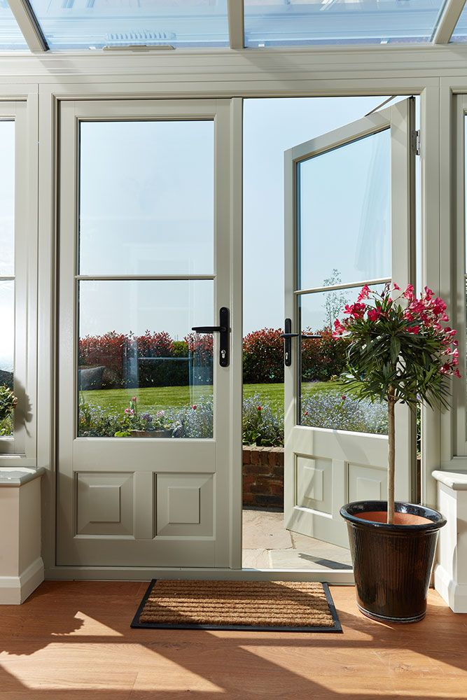 Pebble Grey French doors in timber lean to conservatory & Pebble Grey French doors in timber lean to conservatory | Back Doors ...
