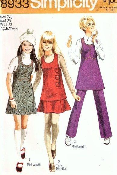 70s RETRO Mini-Jumper or Tunic, Mini-Skirt and Pants Pattern ...