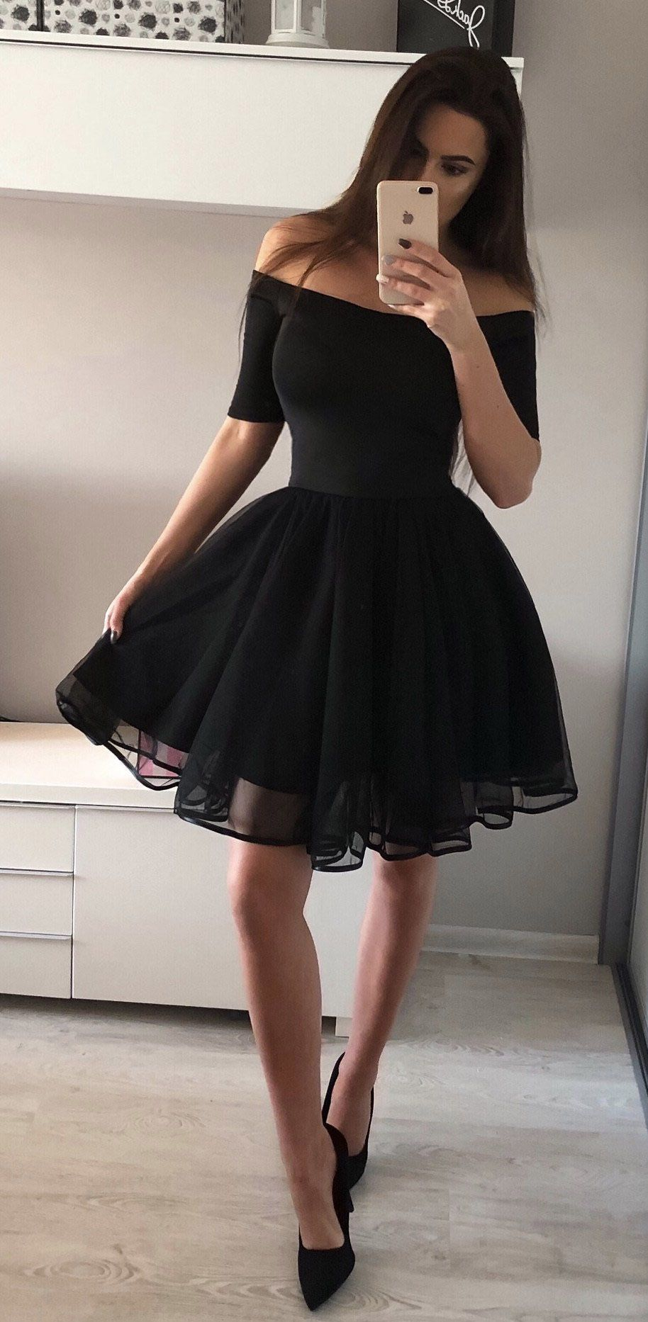 Cute Black A,Line Homecoming Dress,Off the Shoulder Short