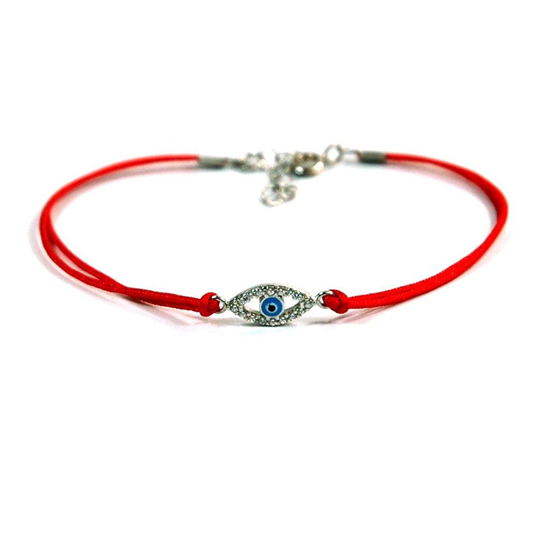 Black Evil Eye Charm Bracelet - Sterling Silver - Fully Adjustable Corded String Bracelet lMHMUi