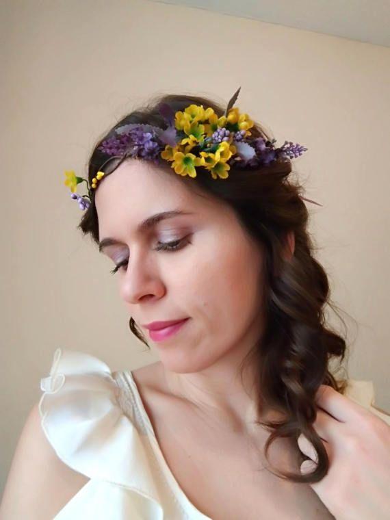 Purple yellow flower crown lavender hair flowers hair wreath purple yellow flower crown lavender hair flowers hair mightylinksfo