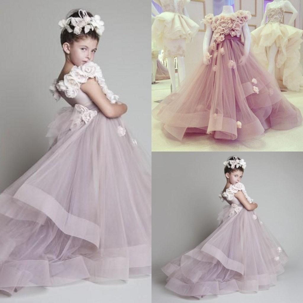 Krikor Jabotian Children Flower Dress Lavendar But Can Be Made In Custom Colors