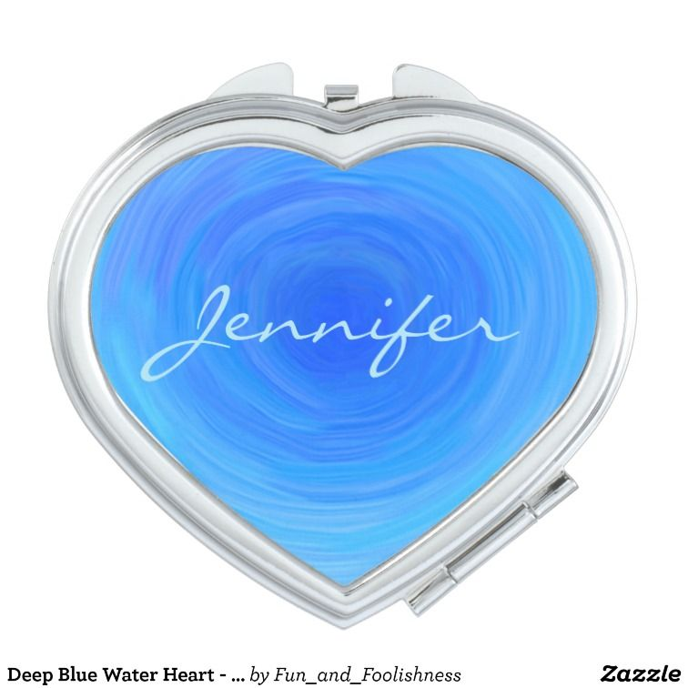Blue Heart Simple Bridesmaid Name Bridal Party Makeup Mirror | Zazzle.com