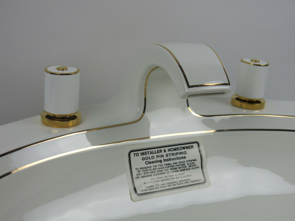 White Bathroom Sink Complete By Eljer Romanique Gold Handle Usa