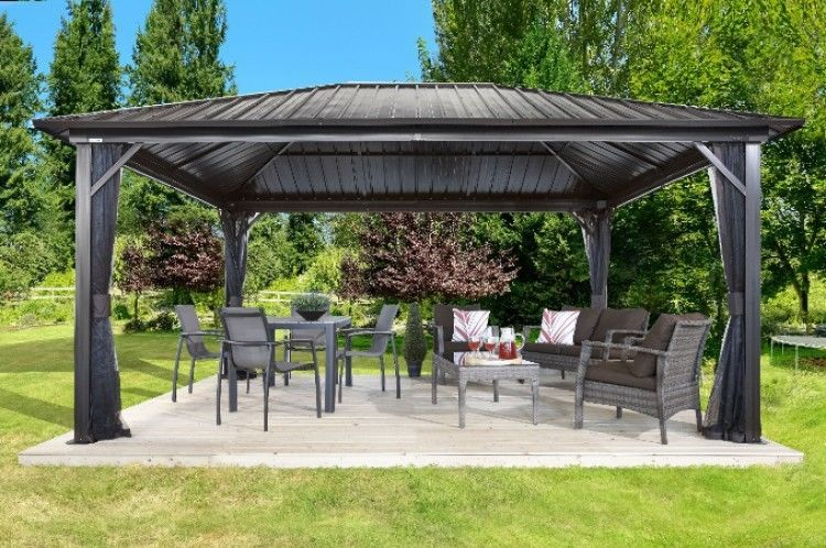 Permanent Hardtop Gazebo Aluminum Frame Galvanized Roof Mesh Walls 12 Ft X 16 Ft Sojag Patio Gazebo Outdoor Gazebos Pergola Patio
