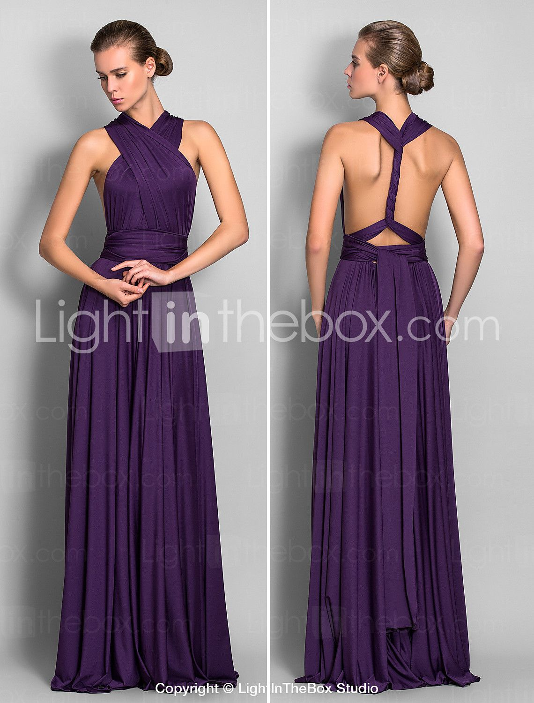 A-Line Floor Length Jersey Bridesmaid Dress with Pleats Criss Cross ...