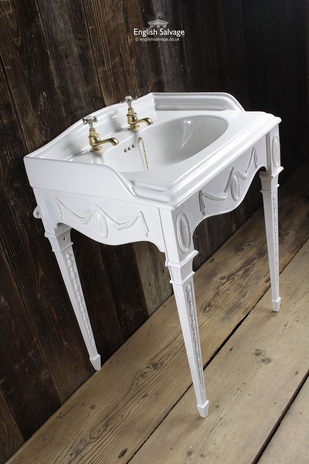 Shanks sink and stand reclaimed porcelain sinks and chrome stands - Reclaimed Basin With An Unusual Four Legged Regency Metal Stand Painted White And Decorated