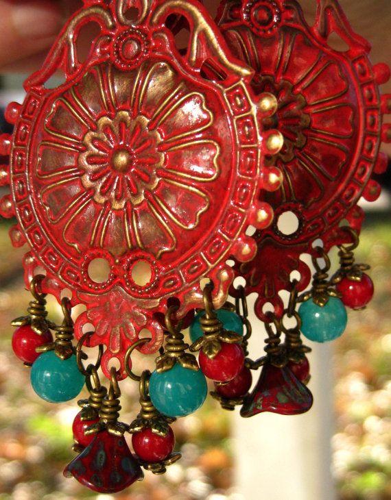 Moobie Grace Designs  Bohemian Boho Earrings by MoobieGraceDesigns, $25.00