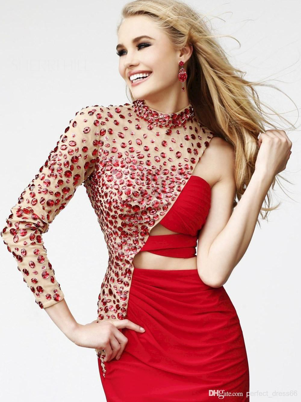 Discount crystals one shoulder transparent formal dresses with high