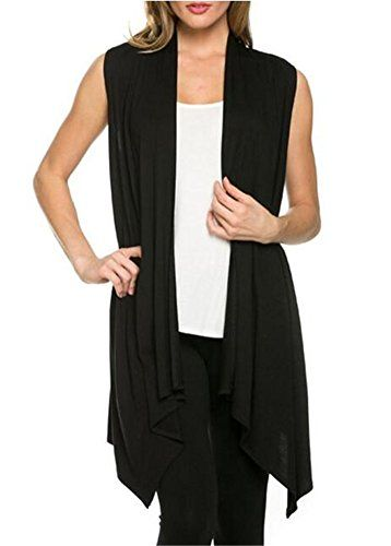 Womens Solid Color Sleeveless Asymetric Hem Open Front Cardigan