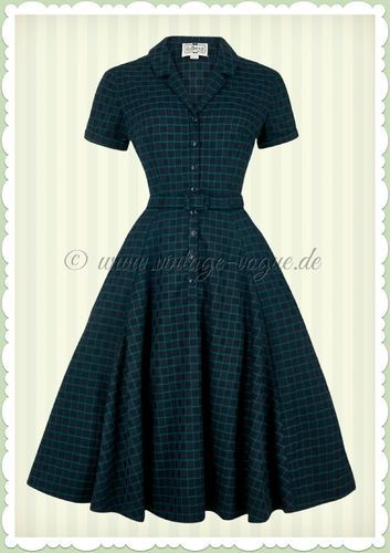Collectif 40er Jahre Vintage Karo Kleid - Caterina Chaise - Navy ...
