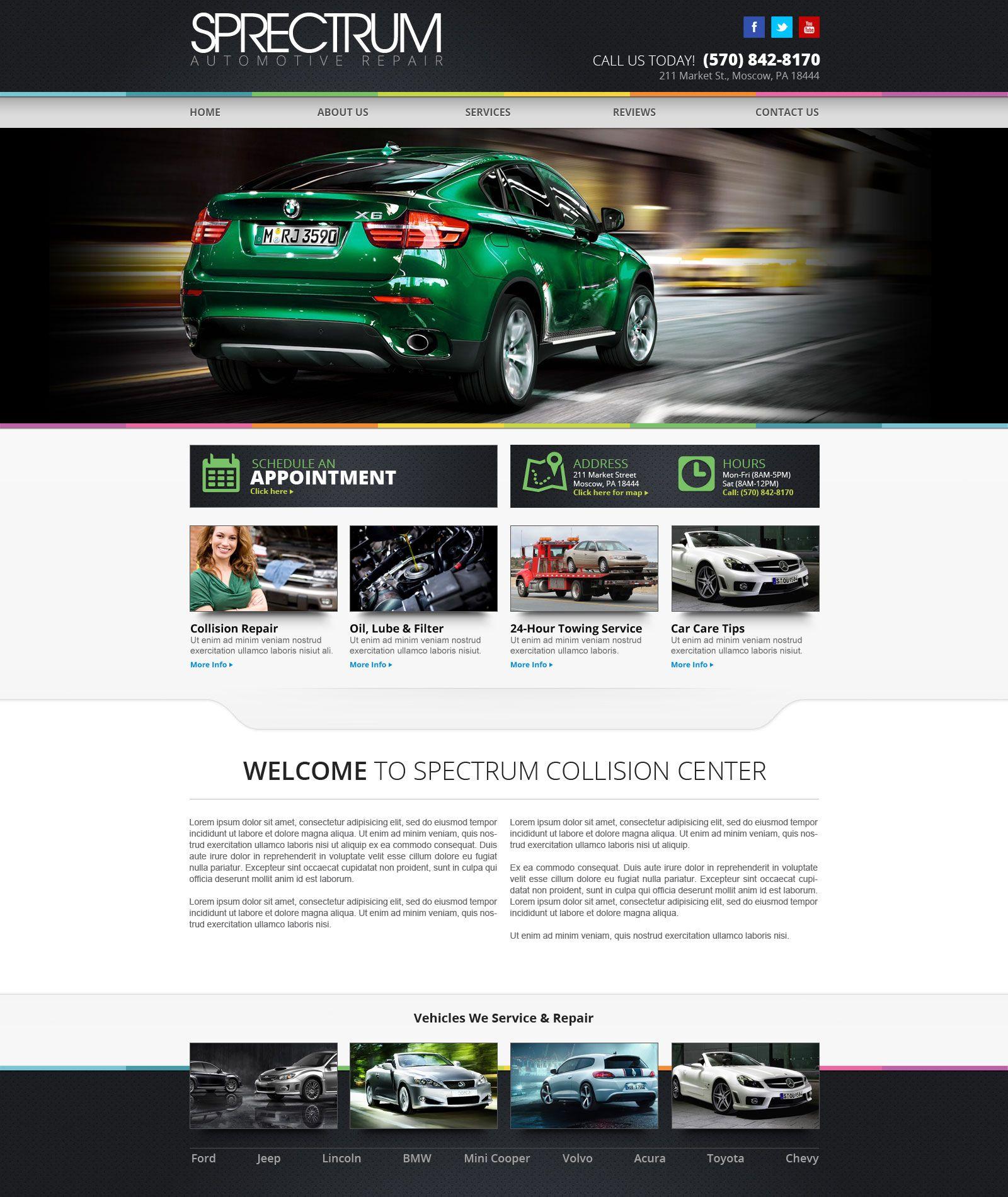 website designs for auto repair site (homepage). | design
