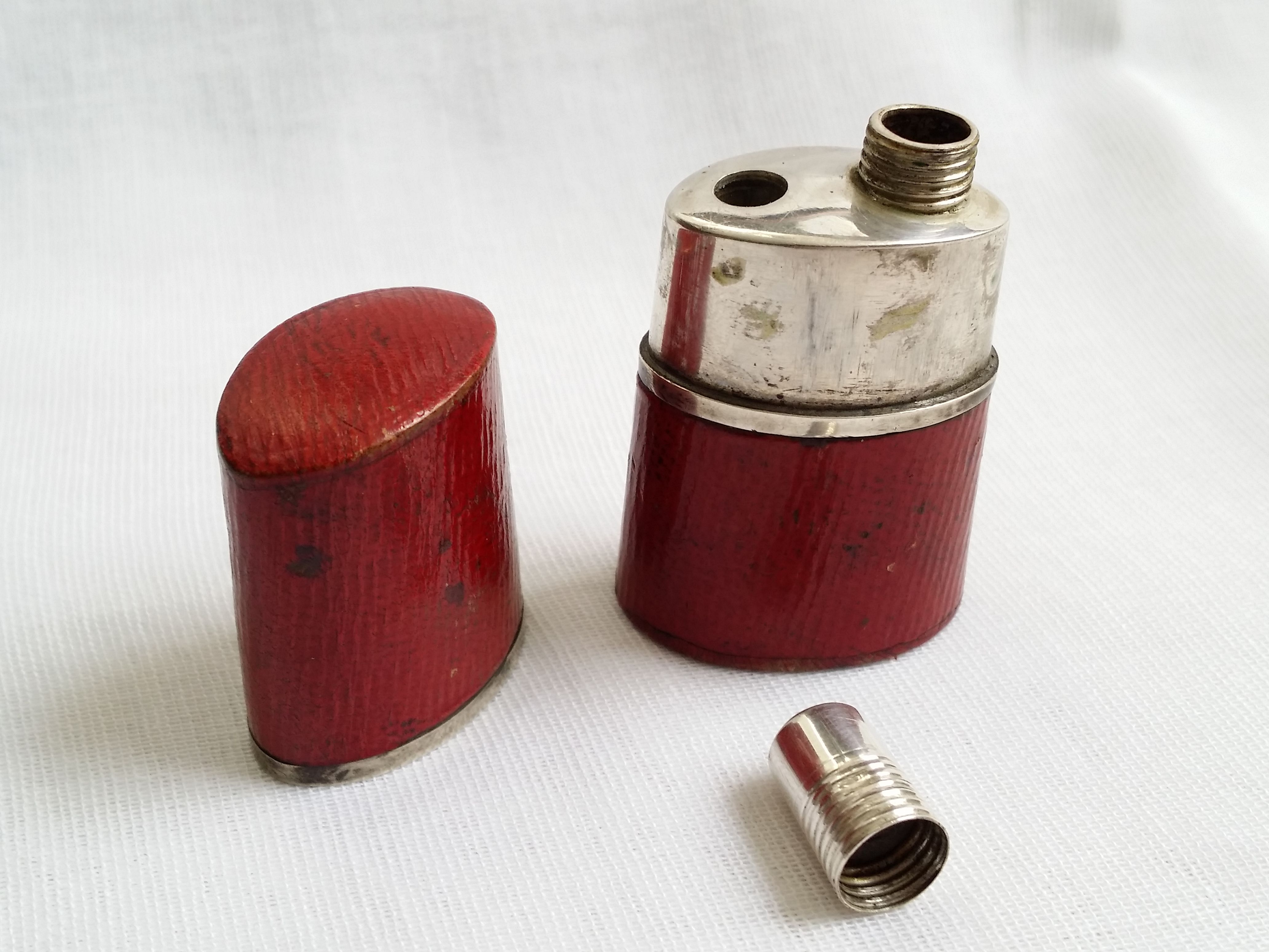 Antique Silver Red Leather Inkwell Etui Antique Collection Antiques Inkwell