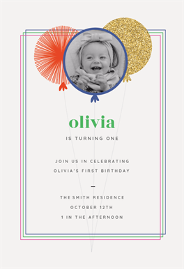 Balloons first birthday invitation template customize add text balloons first birthday invitation template customize add text and photos print download send online or order printed filmwisefo