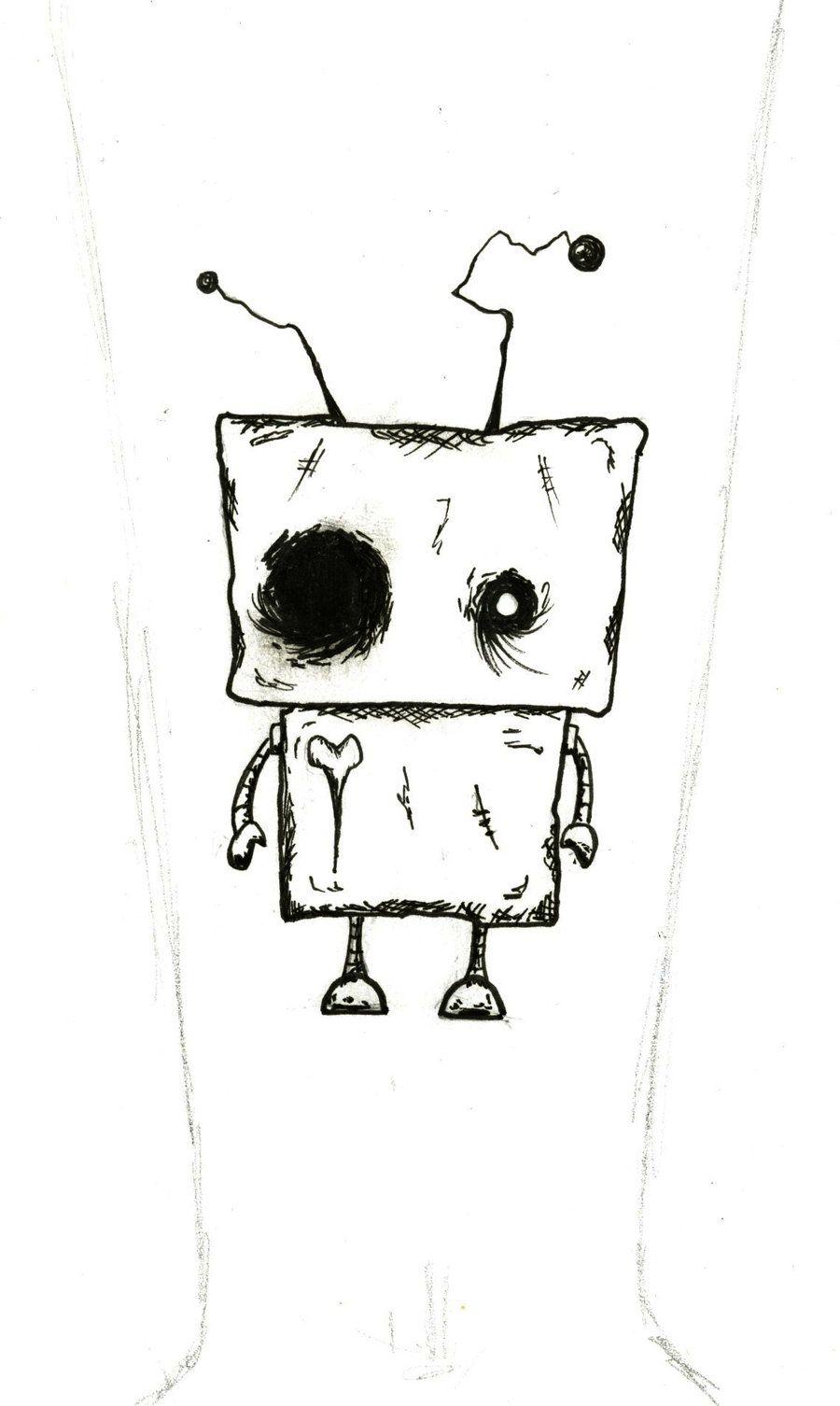 Broken Hearted Robot Tattoo By Bluescissors On Deviantart