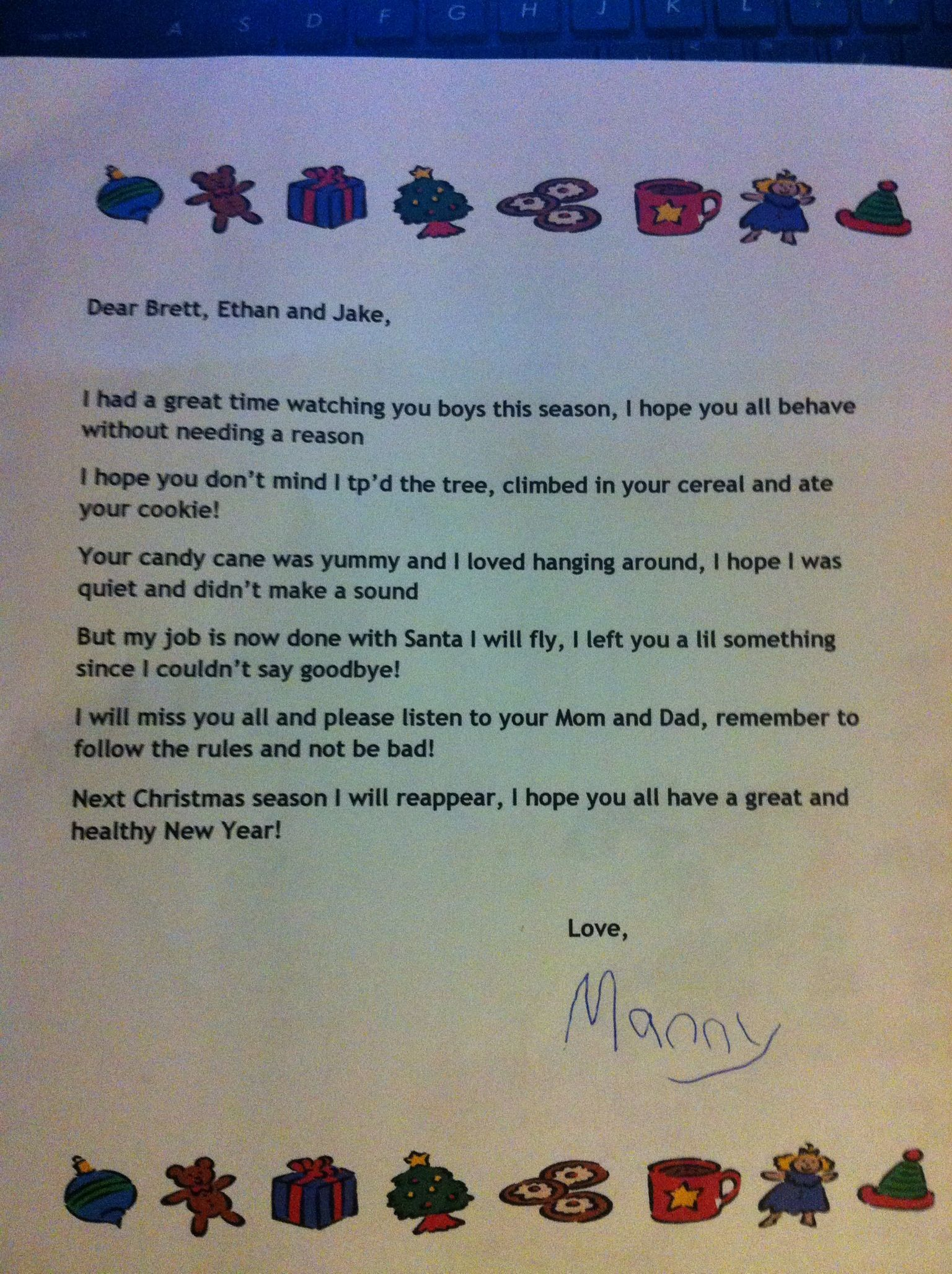 Our goodbye letter from Manny our elf on the shelf Kids stuff