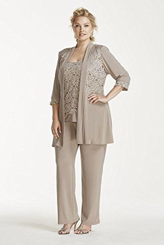 Plus Size Mock Two Piece Lace and Jersey Pant Suit Style 7772W ...
