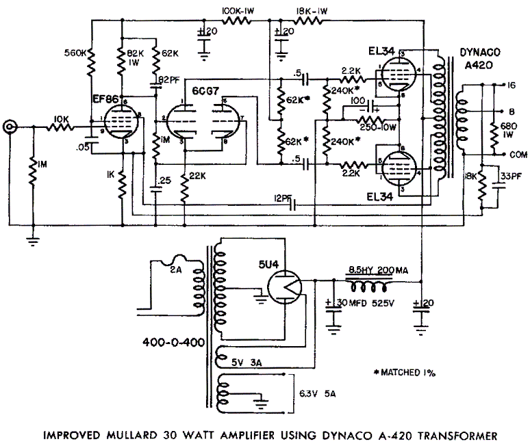 Mullard El34 Push Pull Tube Amp Schematic Dynaco A420 Transformer Valve Amplifier Vacuum Tube Diy Amplifier