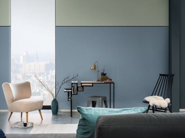 Salon bleu gris dulux valentine 3 couleurs Pinterest Salons - salle de bain bleu gris