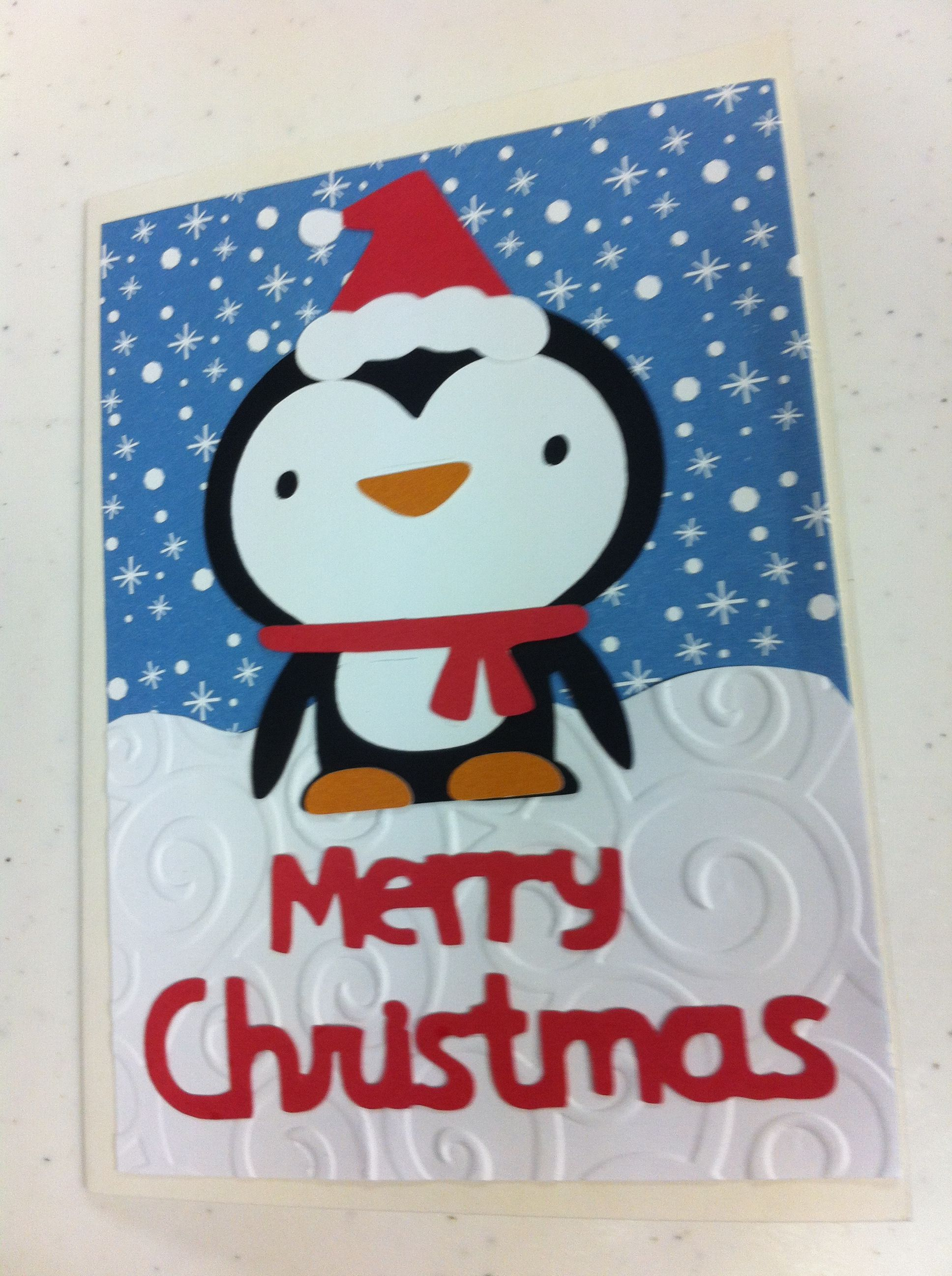 Penguin Christmas card-cricut create a critter | Cards | Pinterest ...