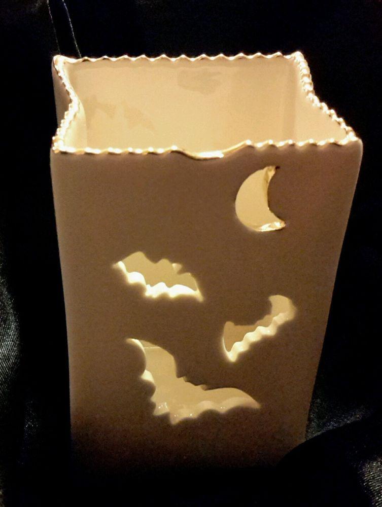 2 Lenox Halloween Bat Votives Incl Candle Luminary NIB Paper Bag Shape #LenoxAmericanbyDesign
