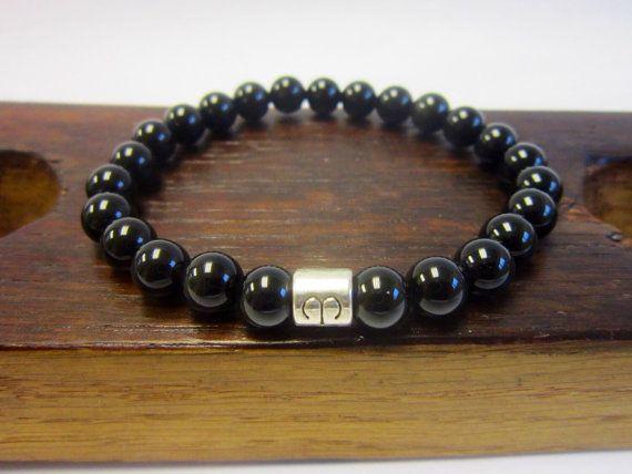 Men's Black Obsidian Bracelet Men's Black Obsidian Healing Bracelet Men's Yoga Meditation Black Obsidian Bracelet Men Sagittarius Obsidian