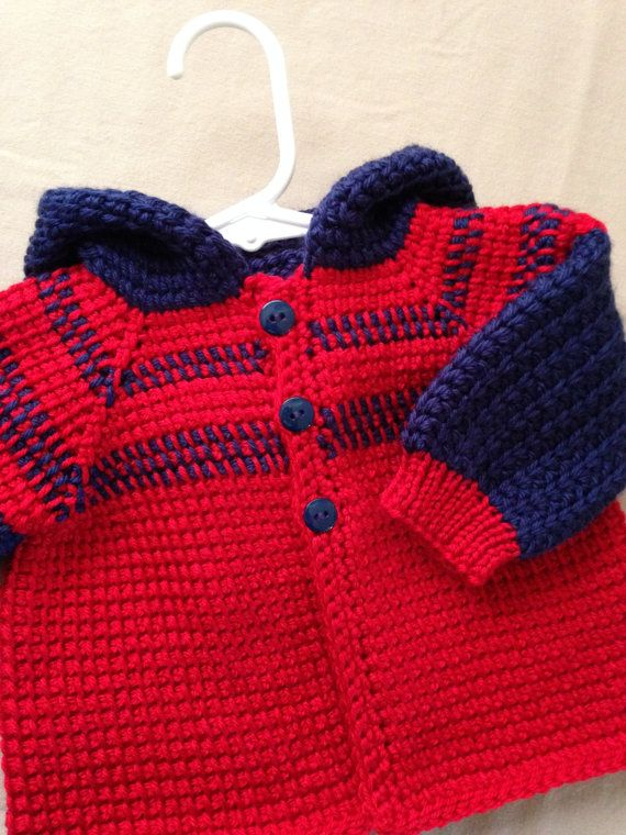 Red and Blue Crochet Baby Boy Sweater with por ForBabyCreations ...