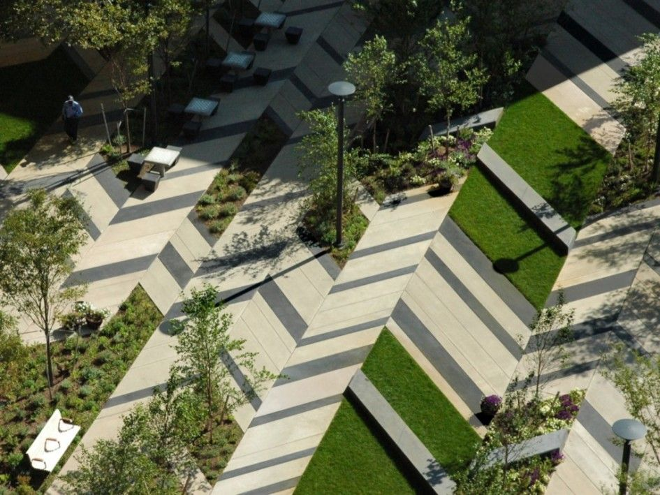 Architectures, Modern Urban Landscape Architecture Project Idea With Garden  And Park Bench: Landscape Architect