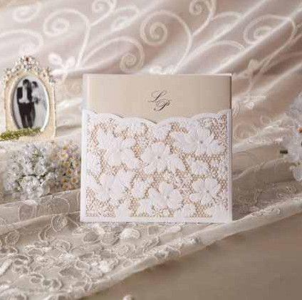 Weiss Spitze Perlen Dekorierte Einladungskarten Hochzeit OPL043