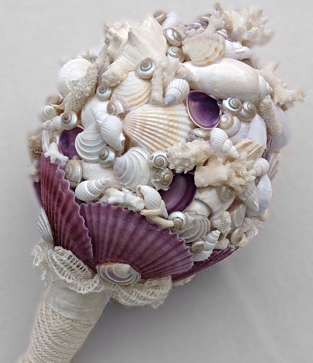 Nautical Bouquet Mauve Shell By BeachBasketBride