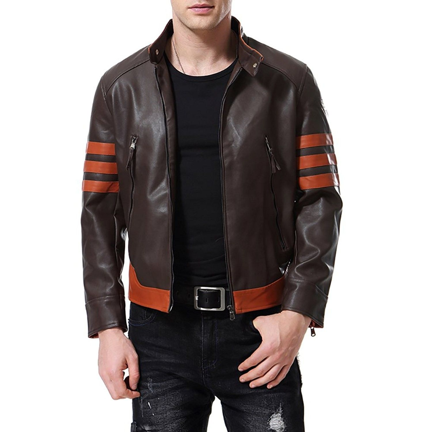Men's Faux Leather Jacket Brown Punk Moto Motorcycle