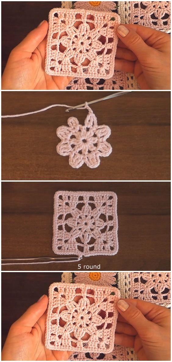 Crochet Easy Lace Motif Granny Square