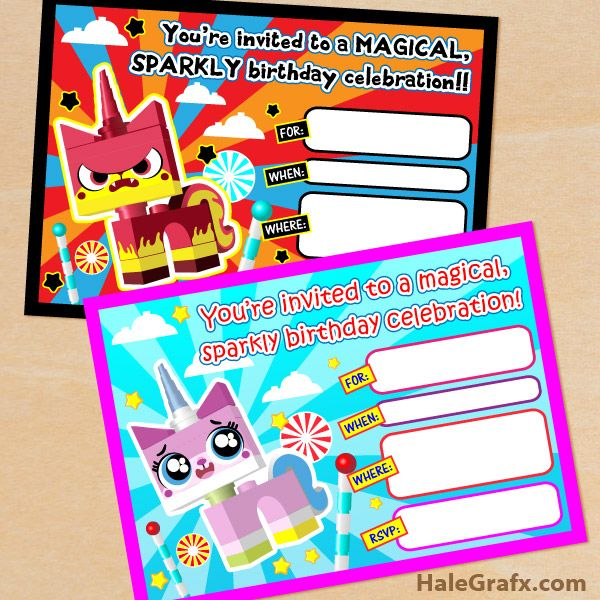 lego unikitty invitations FREE Printable LEGO Movie Unikitty - movie invitation template free