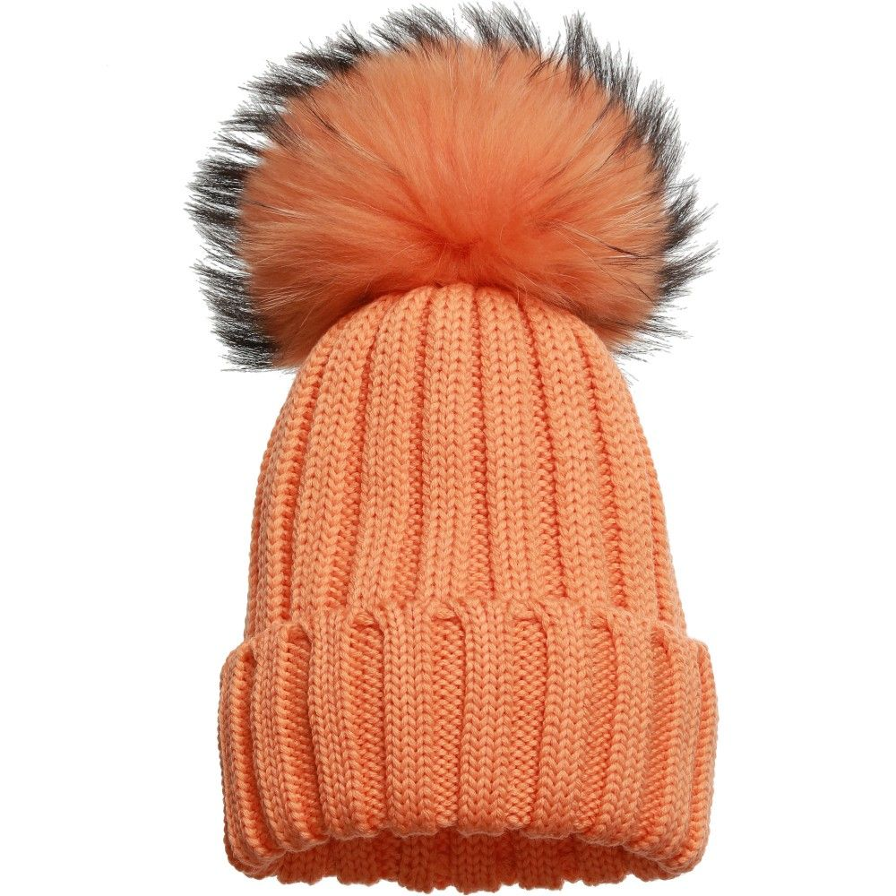c64c28d6582 Catya - Orange Knitted Hat with Fur Pom-Pom