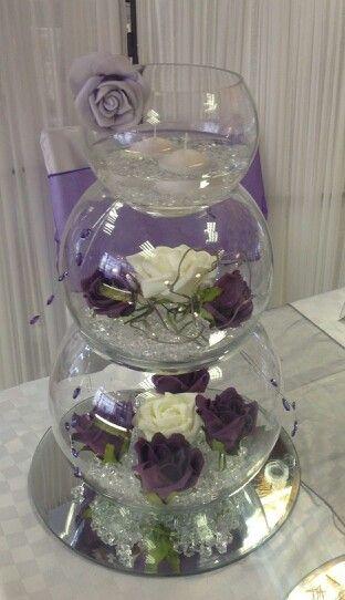 Three Vase Centerpiece My Colors Purple Gold Cream Birthday