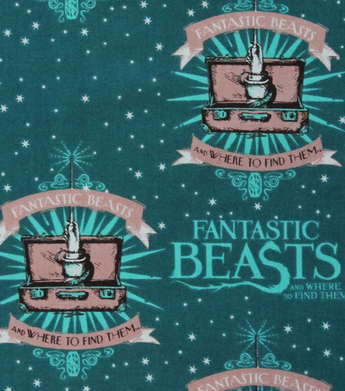 Fantastic Beasts Logo & Wand Cotton Fabric 43\