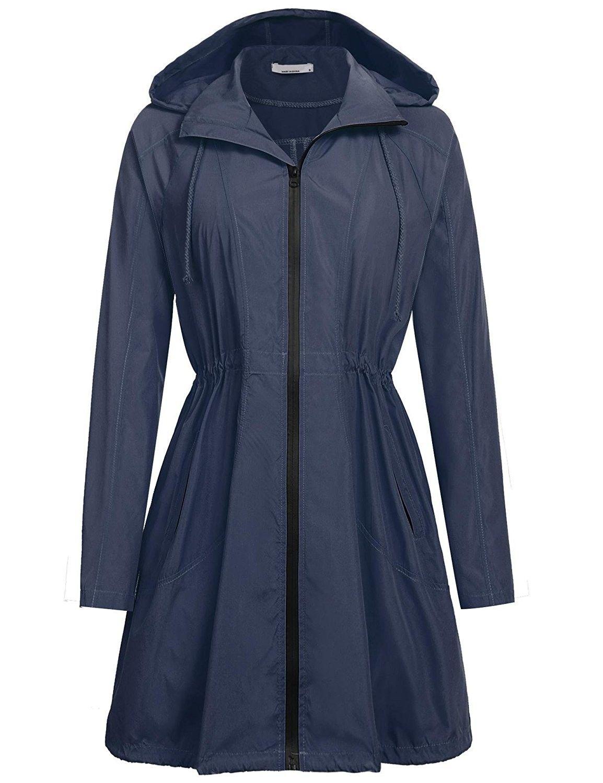 ec5b0d0d3a7 Women Lightweight Rain Slicker Windbreaker Waterproof Hooded Long Rain  Jacket with Drawstring Navy Blue/M - CE185SET9K9,Women's Clothing, Coats,  ...
