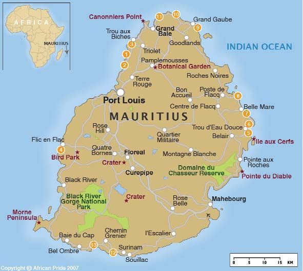 The island nation of Mauritius located in the Indian