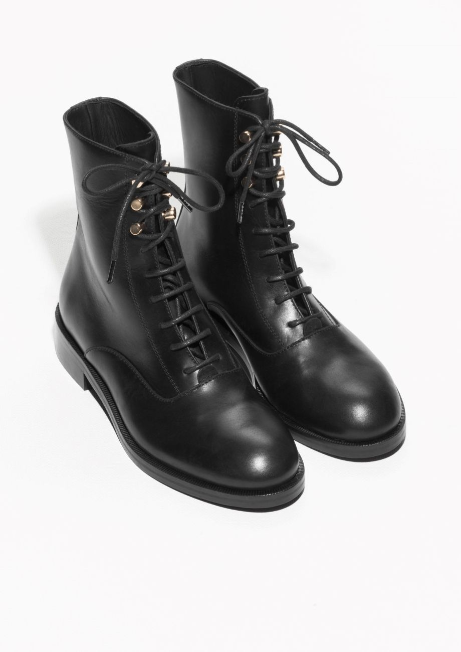 561ad4df2 & Other Stories | Lace-Up Leather Ankle Boots | Winter Wardrobe ...