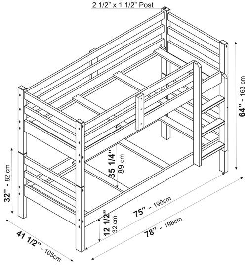 Bunk Bed Dimensions Inspiring With Image Of Bunk Bed Exterior