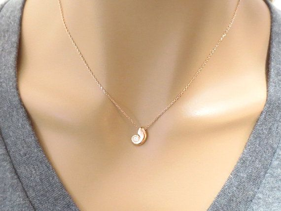 Rose gold Pink gold Ariel Mermaid Seashell Necklace The little