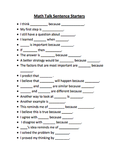 Heres a list of math talk sentence starters math talk heres a list of math talk sentence starters fandeluxe Image collections