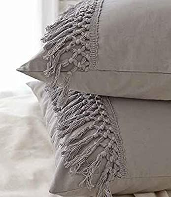 Flber White Pillowcases Tassel Sham Cotton Pillow Covers,Set of 2 (18.9in x29.1in) (Gray 18.9in x29.1in)