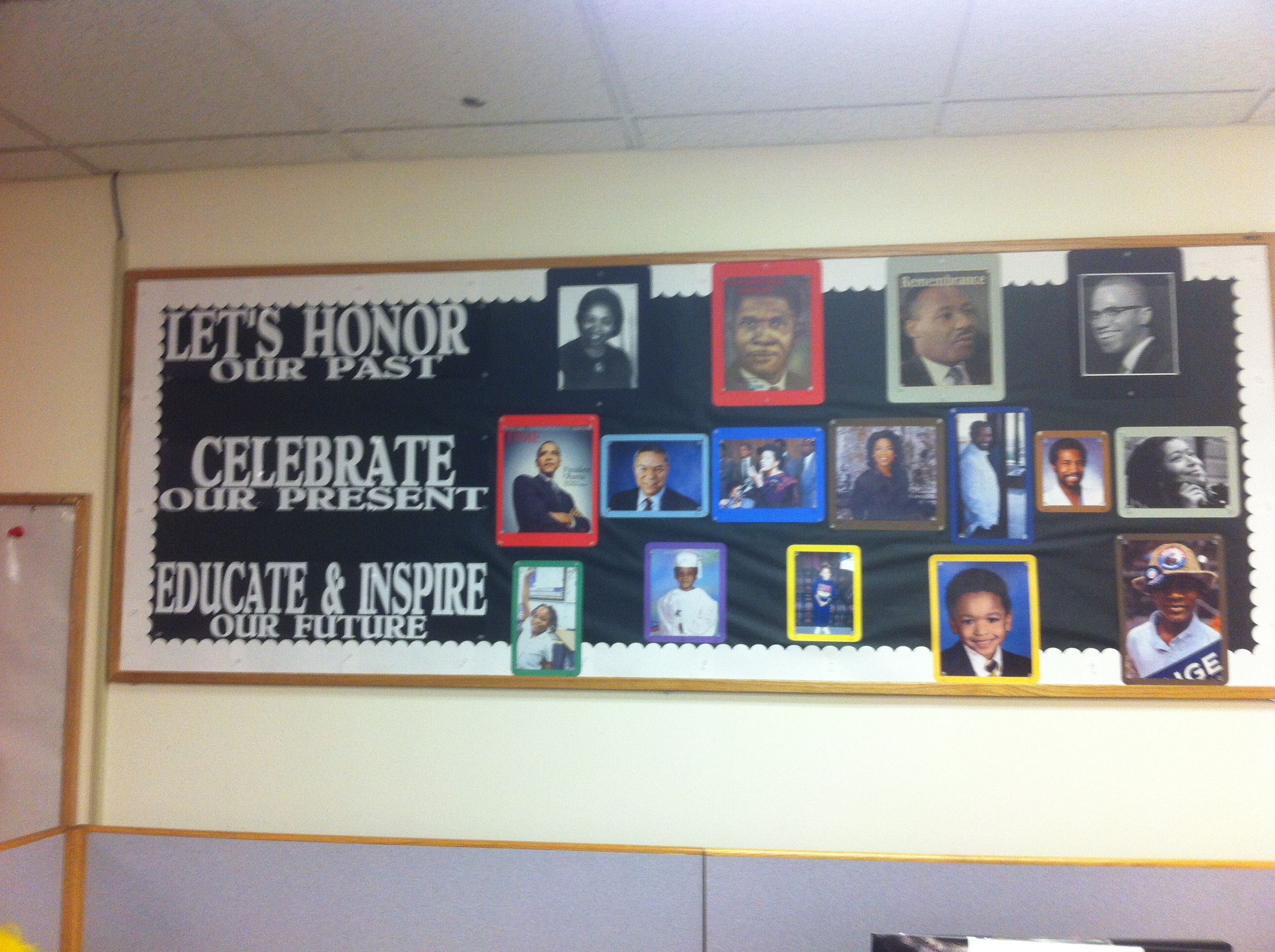 black history month bulletin board with past history maker, the