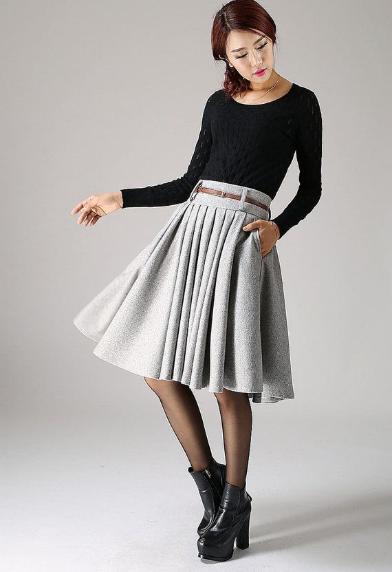 5cc39cafaad Detail   soft light gray wool blend wide waist band side zip closure pleated  skirt hip pocket Accept size custom