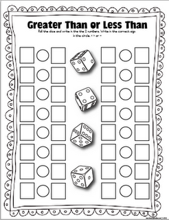 Greater than/less than  FREE Dice game...we will be doing this in January and it  is a great one to play at home as well.