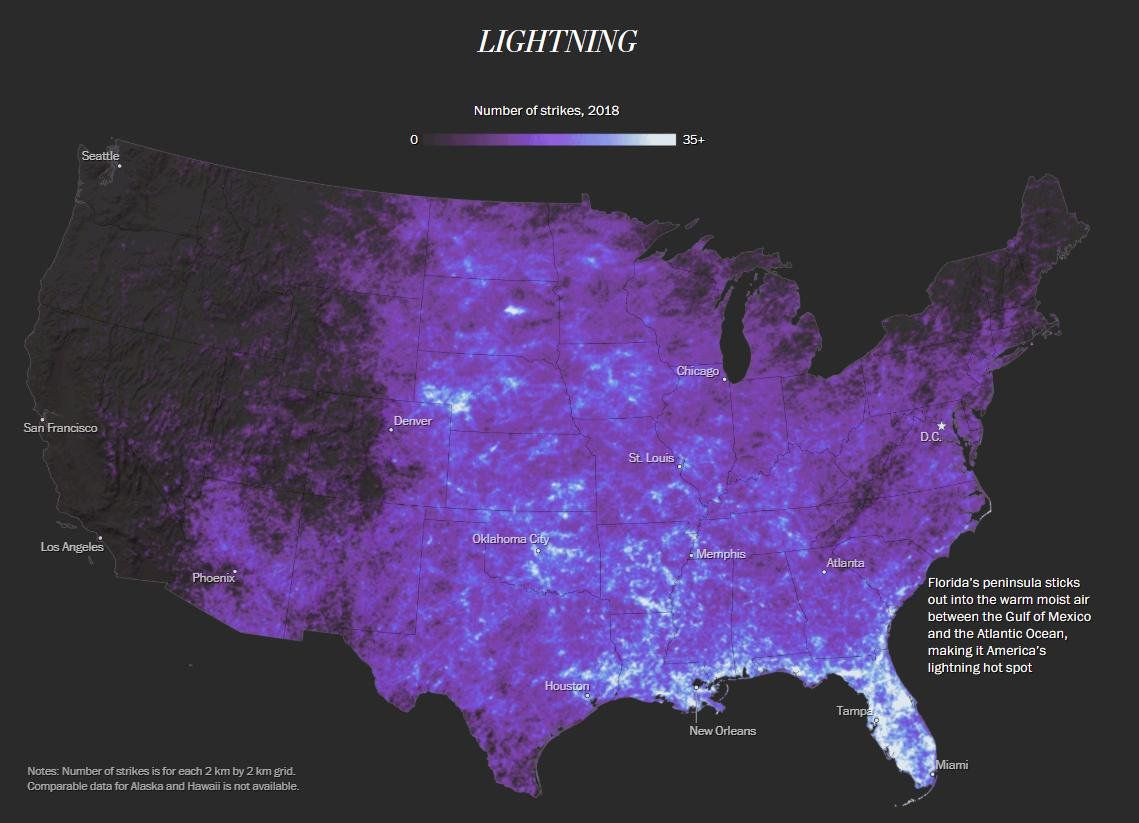 Lightning strikes in the contiguous United States, 2018